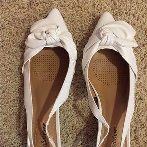 White shoes kitten sling backs